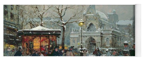 Snow Scene In Paris Yoga Mat