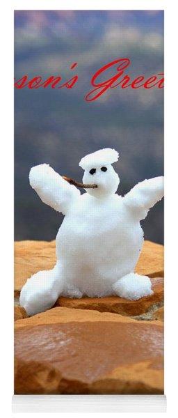 Snowball Snowman Yoga Mat