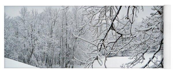 Snowy Branches Yoga Mat