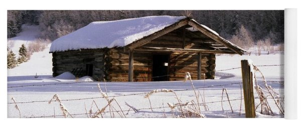 Snowy Cabin Yoga Mat