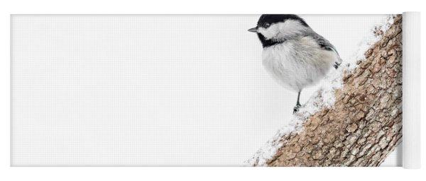 Snowy Chickadee Yoga Mat