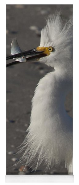 Snowy Egret Fishing Yoga Mat