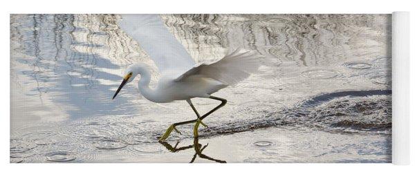 Snowy Egret Gliding Across The Water Yoga Mat