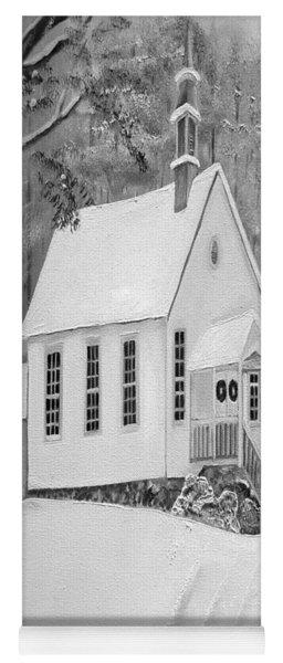 Yoga Mat featuring the painting Snowy Gates Chapel -white Church - Portrait View by Jan Dappen