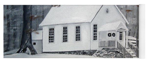 Yoga Mat featuring the painting Snowy Gates Chapel  -little White Church - Ellijay by Jan Dappen