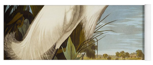 Snowy Heron Or White Egret Yoga Mat