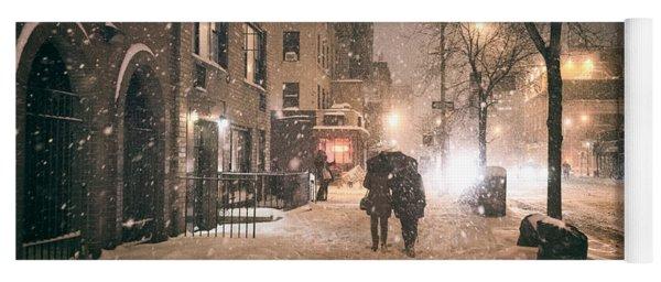 Snowy Night - Winter In New York City Yoga Mat
