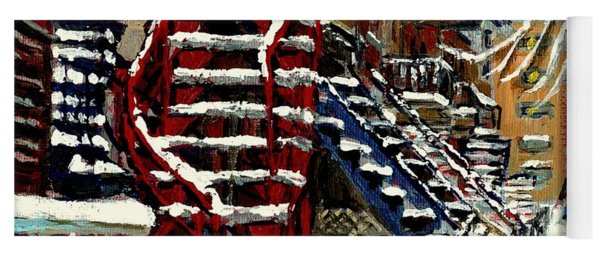 Snowy Steps The Red Staircase In Winter In Verdun Montreal Paintings City Scene Art Carole Spandau Yoga Mat