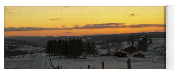 Snowy Pennsylvania Sunset Yoga Mat