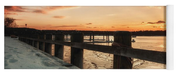 Snowy Sunset In Northport New York Yoga Mat