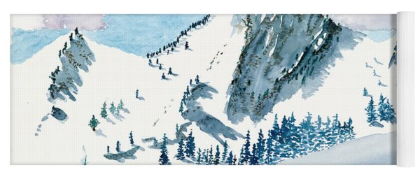 Snowy Wasatch Peak Yoga Mat