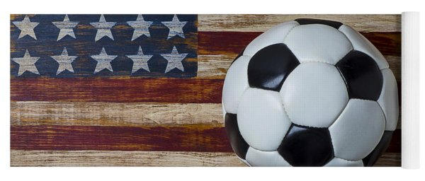 Soccer Ball And Stars And Stripes Yoga Mat