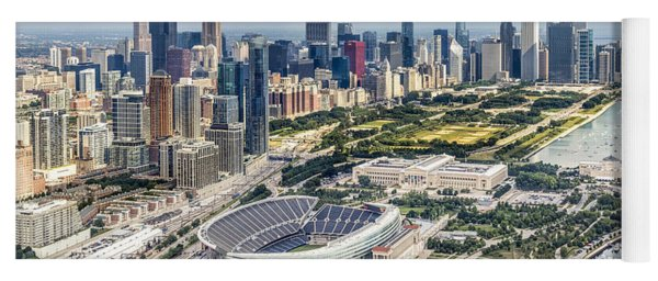 Soldier Field And Chicago Skyline Yoga Mat