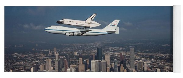 Space Shuttle Endeavour Over Houston Texas Yoga Mat