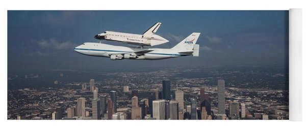 Space Shuttle Endeavour Over Houston Texas Yoga Mat