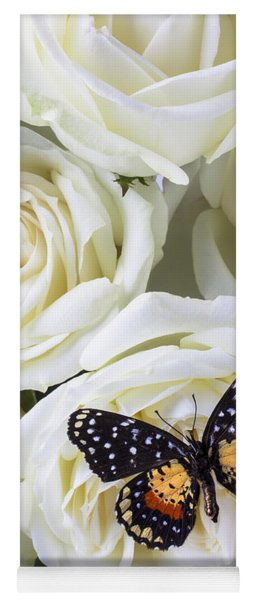 Speckled Butterfly On White Rose Yoga Mat