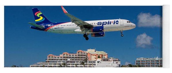 Spirit Airlines Low Approach To St. Maarten Yoga Mat
