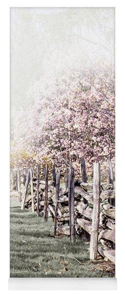 Spring Landscape With Fence Yoga Mat