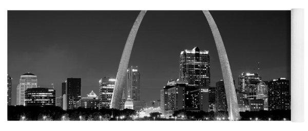 St. Louis Skyline At Night Gateway Arch Black And White Bw Panorama Missouri Yoga Mat