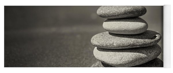Stacked Pebbles On Beach Yoga Mat