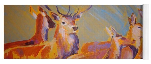 Stag And Deer Painting Yoga Mat