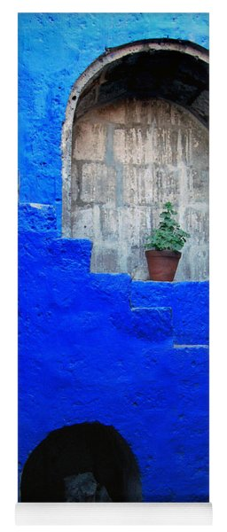 Staircase In Blue Courtyard Yoga Mat