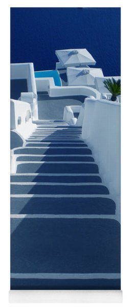 Yoga Mat featuring the photograph Stairs Down To Ocean Santorini by Colette V Hera  Guggenheim