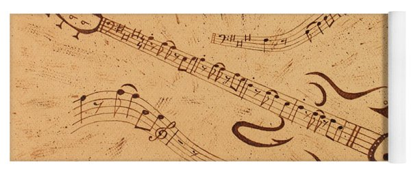 Stand By Me Guitar Notes Original Coffee Painting Yoga Mat