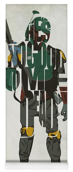 Star Wars Inspired Boba Fett Typography Artwork Yoga Mat