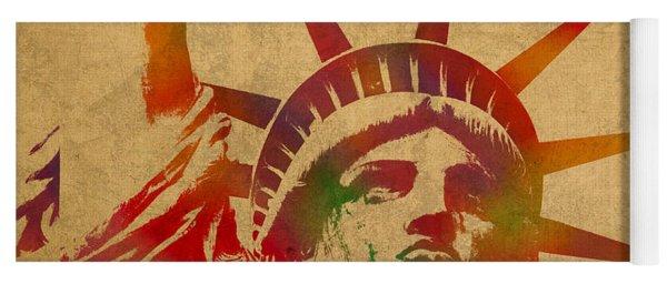 Statue Of Liberty Watercolor Portrait No 2 Yoga Mat