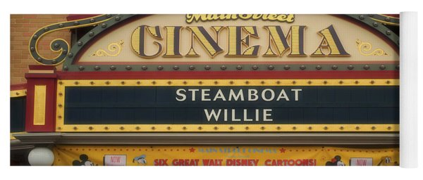 Steam Boat Willie Signage Main Street Disneyland 02 Yoga Mat
