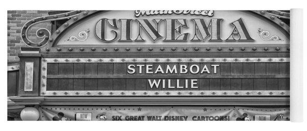 Steam Boat Willie Signage Main Street Disneyland Bw Yoga Mat