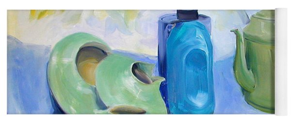 Oil Painting Still Life Study Of Blue And Green Pottery Yoga Mat