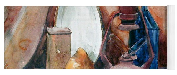 Watercolor Still Life With Rustic, Old Miners Lamp Yoga Mat