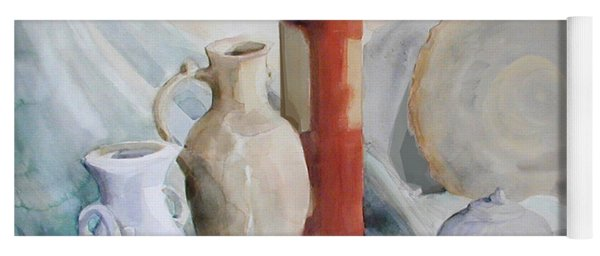 Watercolor Still Life With Pottery And Stone Yoga Mat