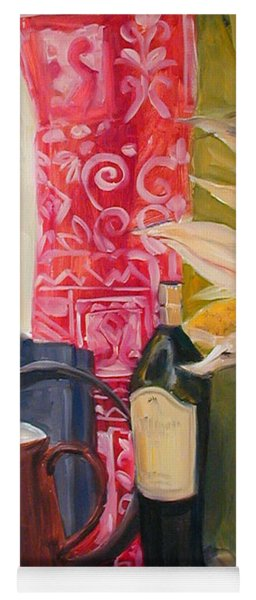 Oil Painting Still Life With Red Cloth And Pottery Yoga Mat