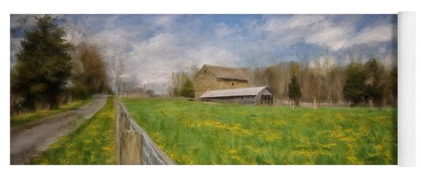 Stone Barn On A Spring Morning Yoga Mat