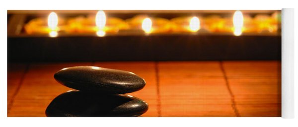 Stone Cairn And Candles For Quiet Meditation Yoga Mat