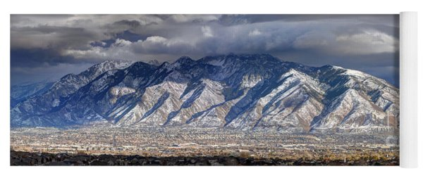 Storm Front Passes Over The Wasatch Mountains And Salt Lake Valley - Utah Yoga Mat