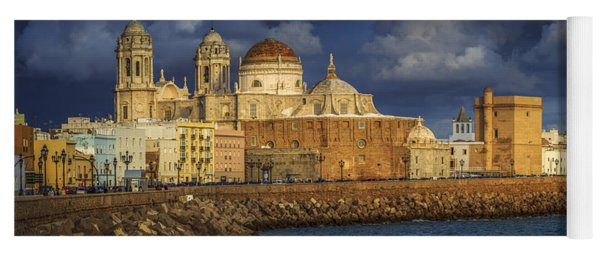 Stormy Skies Over The Cathedral Cadiz Spain Yoga Mat