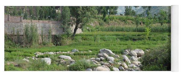 Stream Trees House And Mountains Swat Valley Pakistan Yoga Mat