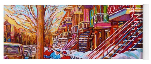 Street Hockey Game In Montreal Winter Scene With Winding Staircases Painting By Carole Spandau Yoga Mat
