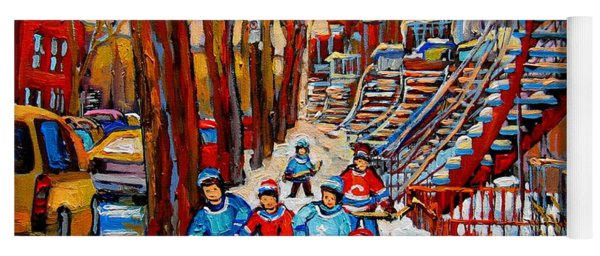 Streets Of Verdun Hockey Art Montreal Street Scene With Outdoor Winding Staircases Yoga Mat