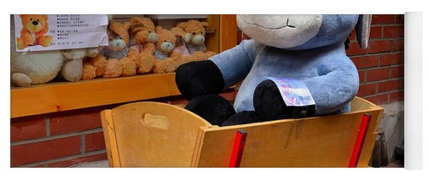 Stuffed Donkey Toy In Wooden Barrow Cart Yoga Mat