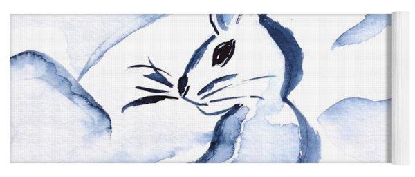Sumi-e Snow Bunny Yoga Mat