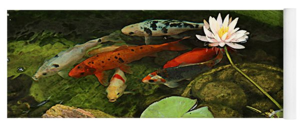 Summer Koi And Lilly Yoga Mat