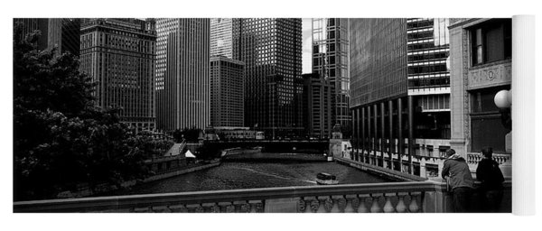 Summer On The Chicago River - Black And White Yoga Mat