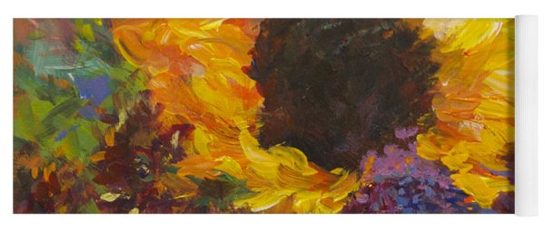 Sunflower Dance Original Painting Impressionist Yoga Mat