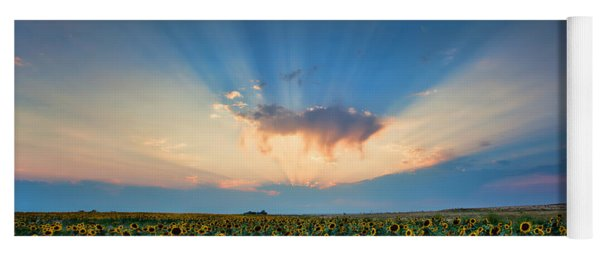 Sunflower Field At Sunset Yoga Mat