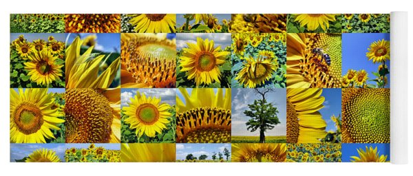 Sunflower Field Collage In Yellow Yoga Mat